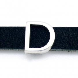 DQ metaal schuifkraal voor 10mm breed leer - letter D - maat 13x14mm - gat 2,5x10mm (B04-071-AS)