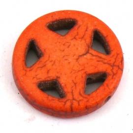 BJ318 keramiek kraal rond 20mm sherrifstar kleur donker oranje