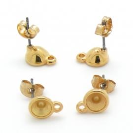 DQ metaal GOUD oorbel oorsteker met oogje voor ss24 per paar (pin is titanium) (B05-042-SG)