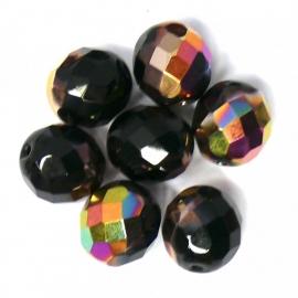(BJBR-016) glaskraal rond facet geslepen donkerbruin AB 11mm