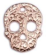 DQ metaal ROSE GOUD hanger skull versierd 26x33mm (B02-032-RG)