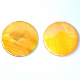 schelp kraal rond 25mm kleur parelmoer oranje (BJSC002)