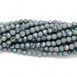 glaskraal rond facet 8mm - kleur opal grey diamond coating (BGK-003-026) 5 kralen