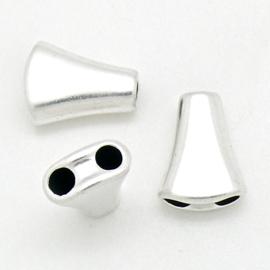 DQ metaal Verdeler van 1 naar 2 voor 4mm rond leer - maat 13x17mm - gaten 4mm (B05-060-AS)