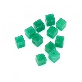 (BJG-038) glaskraal vierkant 5x5mm kleur opaal groen