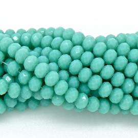 glaskraal rondel facet 4x6mm - streng van ongeveer 100 kralen (BGK-005-035) kleur light turquoise