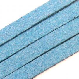 imitatie suede veter 5mm breed 90 cm lang kleur blauw (BJ255)