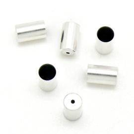 DQ metaal eindkap voor 5mm rond leer met gaatje - maat 6x10mm - gat 5mm (B06-051-AS)