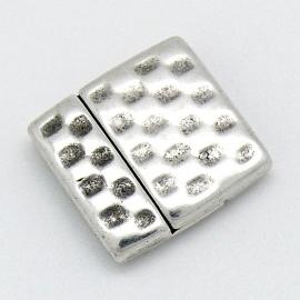 DQ metaal magneetsluiting MEN hamerslag 24x24mm voor 20mm breed leer gat 2x20mm (B07-068-AS)