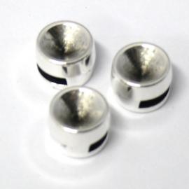 DQ metaal schuifkraal voor 5/6mm leer voor ss39 maat 9mm (gat 2,2x7mm (B04-024-AS)