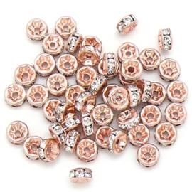 strass rondel - ROSEGOLD - crystal - maat 6x3mm - gat 1mm - 5 stuks