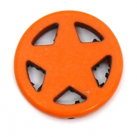 BJ354 keramiek kraal rond 25mm sherrifstar kleur oranje