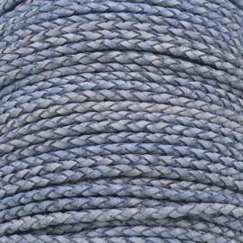 DQ 3mm rondgevlochten soft leather- kleur vintage navy - 20cm (BRGL-3-14)