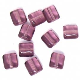 glaskraal paar plat vierkant 7mm (BJP005) - 10 stuks
