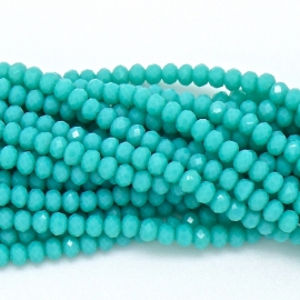 glaskraal rondel facet 3x4mm - circa 148 kralen (BGK-004-033) kleur turquoise blue