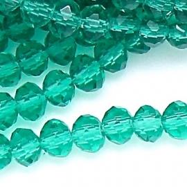 glaskraal rondel facet 6x8mm kleur blue zircon (BGK-006-004) - 35 stuks