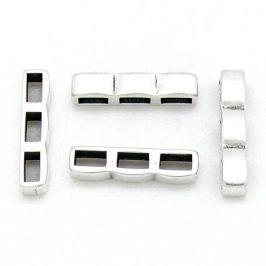 DQ metaal schuifkraal driedubbele rij voor 5mm plat leer - maat 5x21mm - gaten 2,5x5mm (B04-187-AS)