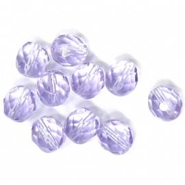 glaskraal lila rond facet geslepen 8mm (BJP007) - 10 stuks
