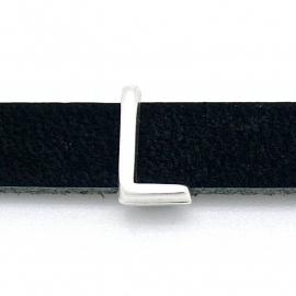 DQ metaal schuifkraal voor 10mm breed leer - letter L- maat 8x14mm - gat 2,5x10mm (B04-079-AS)