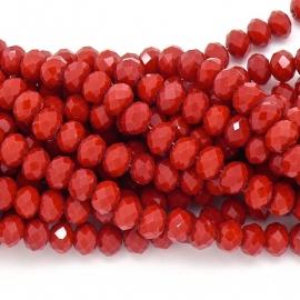glaskraal rondel facet 4x6mm - streng van ongeveer 100 kralen (BGK-005-040) kleur coral red