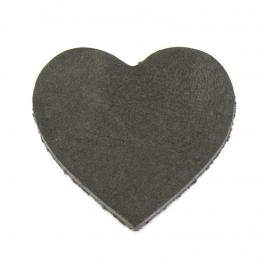 DQ leather gestanste hart 45x55mm - dik 4,5mm kleur buffel grijs/taupe (ST-HART-005)