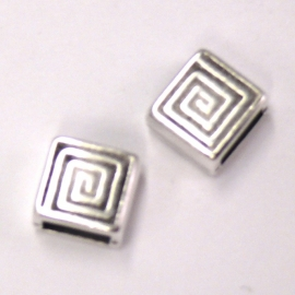 DQ metaal schuifkraal 5mm vierkant spiraal 9mm (B04-037-AS)