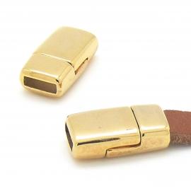 DQ metaal Goud magneetsluiting voor 6mm breed leer 17x9mm gat 2x6mm (B07-110-SG)