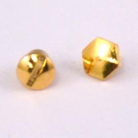 DQ metaal GOUD schroefje voor plat leer 6mm (2-delig) (B08-002-SG)