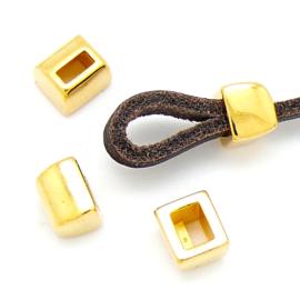 DQ metaal GOUD luscomponent voor 5mm plat leer maat 8x9mm (B05-047-SG)