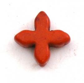 kraal keramiek keltisch kruisje 15mm gat 1mm kleur donker oranje (BJ808)