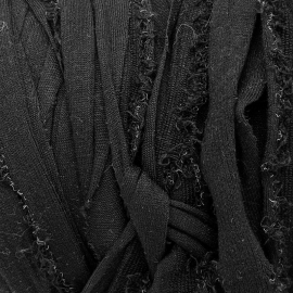 Gipsy koord - licht elastisch textielgaren - ongeveer 20mm breed - lengte 1m - kleur fuzzy black (GIPSY B-28)