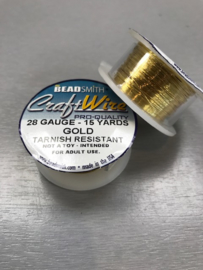 Craftwire Beadsmith - kleur Gold Non Tarnish - 28 gauge - 15 yards