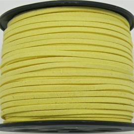 imitatie suede veter 3mm breed - 2m - kleur fel geel (LW-S028-38)