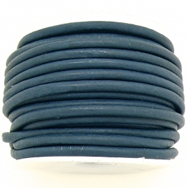 DQ rond leer 3mm - 1 meter - kleur ROYAL VINTAGE DARK BLUE (BRL-03-35)