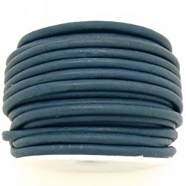 DQ rond leer 3mm - 1 meter - kleur ROYAL VINTAGE DARK BLUE (BRL-03-35)