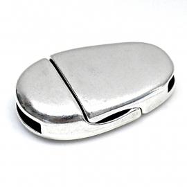 DQ metaal magneetsluiting ovaal 16x24,5mm gat 2x10mm (B07-082-AS)