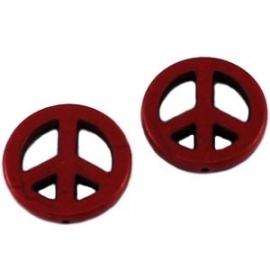 keramiek kraal peace 25mm donkerbordeaux rood (BK20120038)