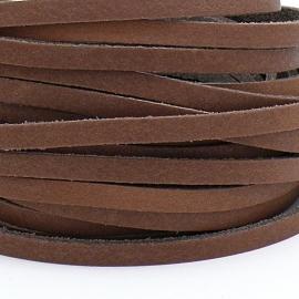 DQ leren band smal 5mm - 2,2 dik circa 100cm lang - kleur trend licht bruin (PL05-017)