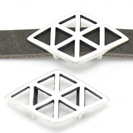 DQ metaal schuifkraal Boho Geometrisch Rhombus voor 10mm leer (gat 2,5x10mm) B04-135-AS)
