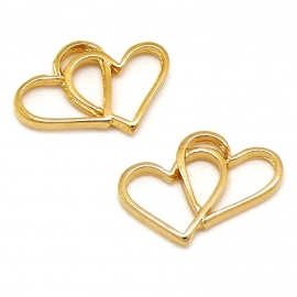 DQ metaal GOUD tussenzetsel connected hearts 14x19mm (B03-045-SG)