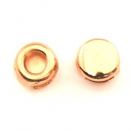 DQ metaal ROSE GOUD schuifkraal rond voor 6mm breed leer (B04-032-RG)
