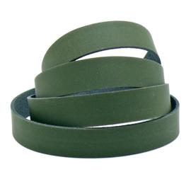 platte leerband DQ leer trend Groen -  2,1 dik - breed 20mm - lengte 20cm (PL20-008)