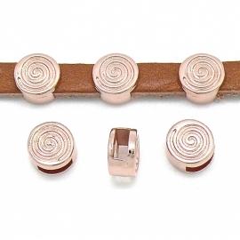 DQ metaal ROSE GOLD schuifkraal 5mm leer spiraal 9mm gat 2x6mm (B04-036-RG)