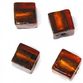 (BJBR-001) glaskraal vierkant 12mm donkerbruin silverfoil  - 2 stuks