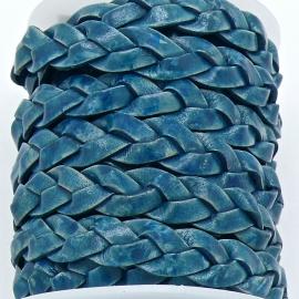 DQ platgevlochten leer 10mm breed kleur AZURE BLUE - 20 cm (BPGL-10-01)