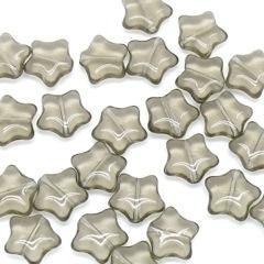 glaskraal ster 12mm kleur black diamond / grijs (BJGR014) - 5 stuks