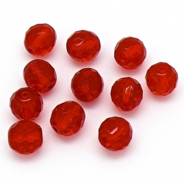 glaskraal rond facet geslepen 12mm rood (BJR018)