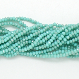 glaskraal rondel facet 2x3mm - circa 148 kralen (BGK-007-024) kleur turquoise two-tone