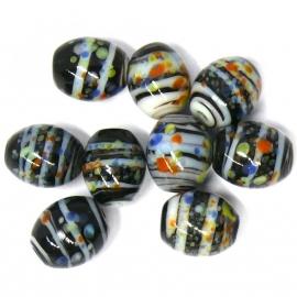 glaskraal ovaal 8x10mm grijs gevlekt (BJGR008) - 5 stuks