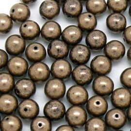 (BJBR-011) glaskraal rrond 8mm brons - 5 stuks